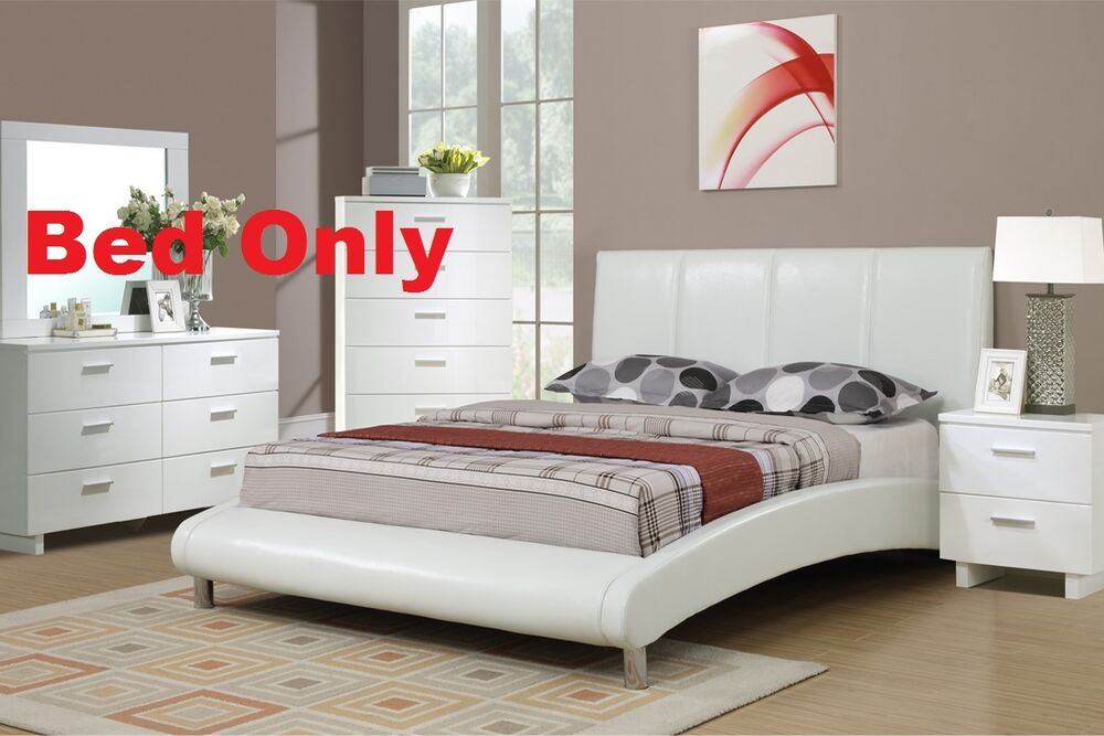 Modern 1 PC White Faux Leather Full Size Bed Bedroom Bedframe Furniture EBay