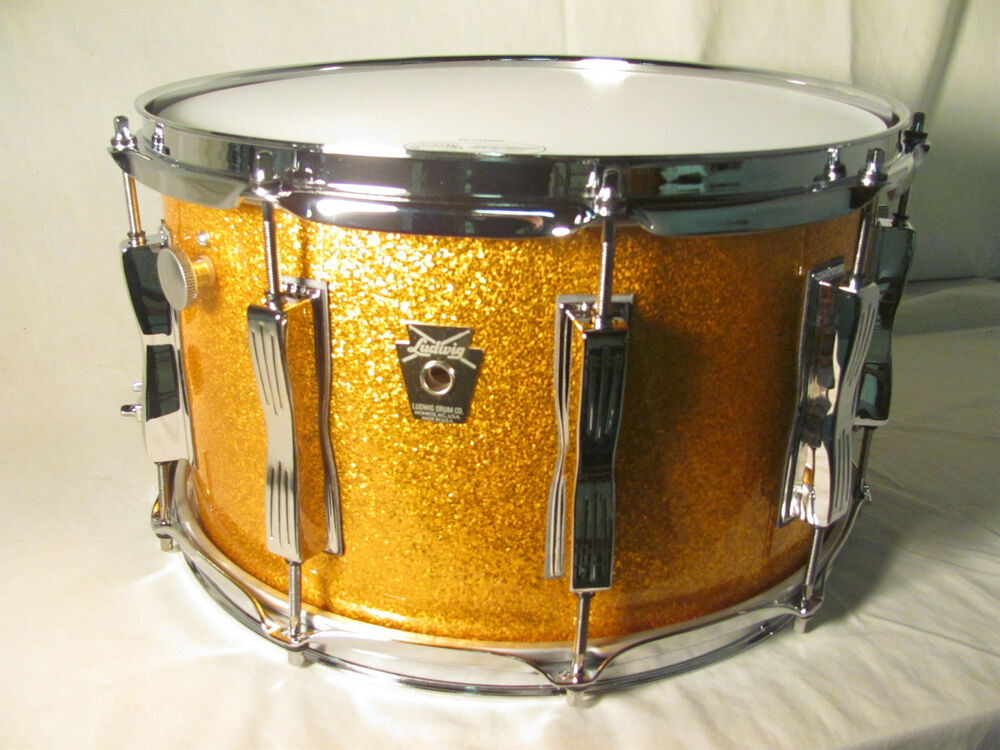 ludwig classic maple supraphonic snare drum gold sparkle twin mach lugs 8x14 ebay. Black Bedroom Furniture Sets. Home Design Ideas
