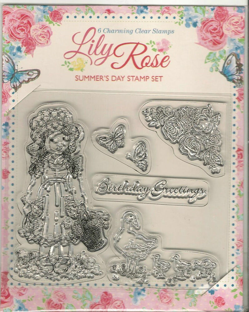 6x charming lily rose clear rubber stamp set craft cards for Custom craft rubber stamps