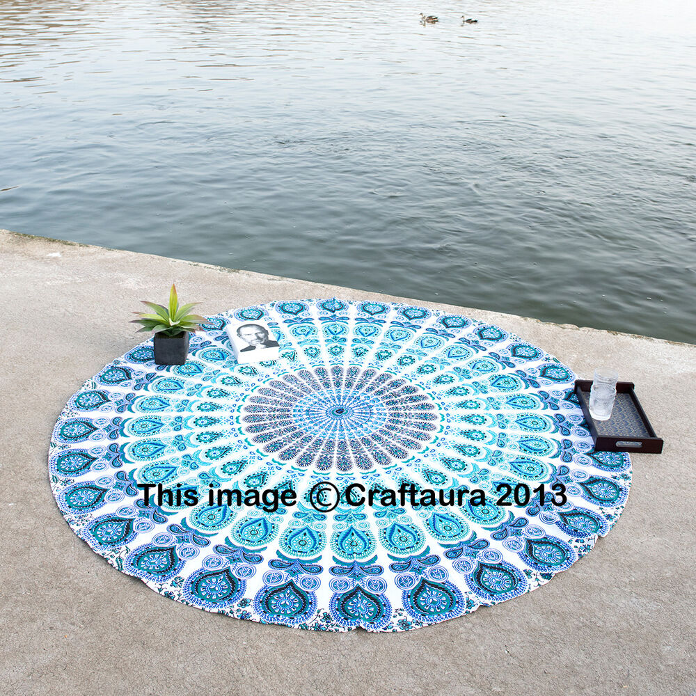 indian round mandala tapestry wall hanging beach throw towel yoga mat tapestries ebay On beach towel round