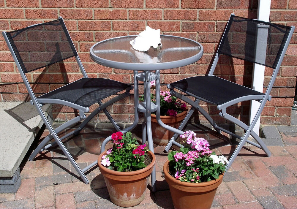 NEW GARDEN FURNITURE PATIO SET BISTRO TABLE & TWO FOLDING