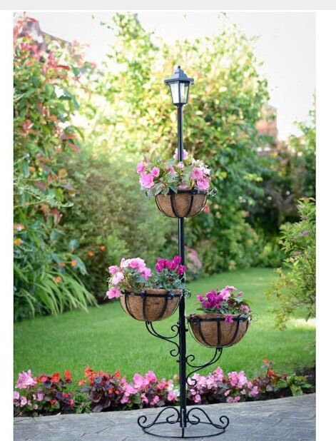 Flower Tower Hanging Baskets : Solar powered tier flower planter with hanging baskets