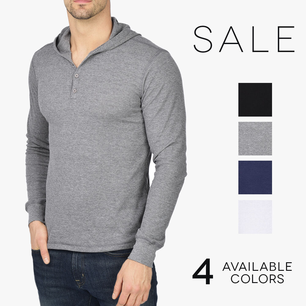 Bella canvas thermal henley hoodie men 39 s lightweight for Men s thermal henley long sleeve shirts