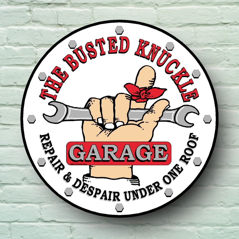 Busted knuckle garage sign retro style plaque classic bike for Vintage garage signs uk