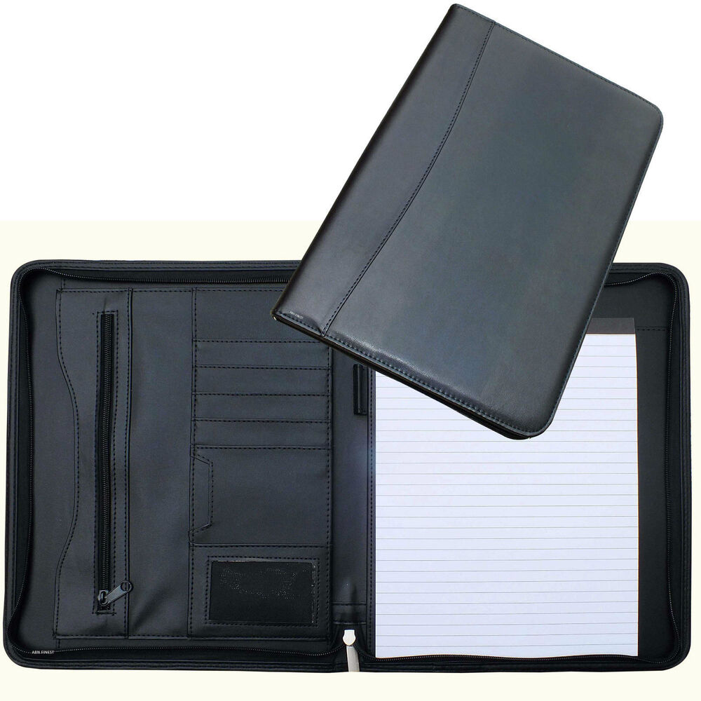 A4 Conference Folder Zipped Folio Case Leather Business
