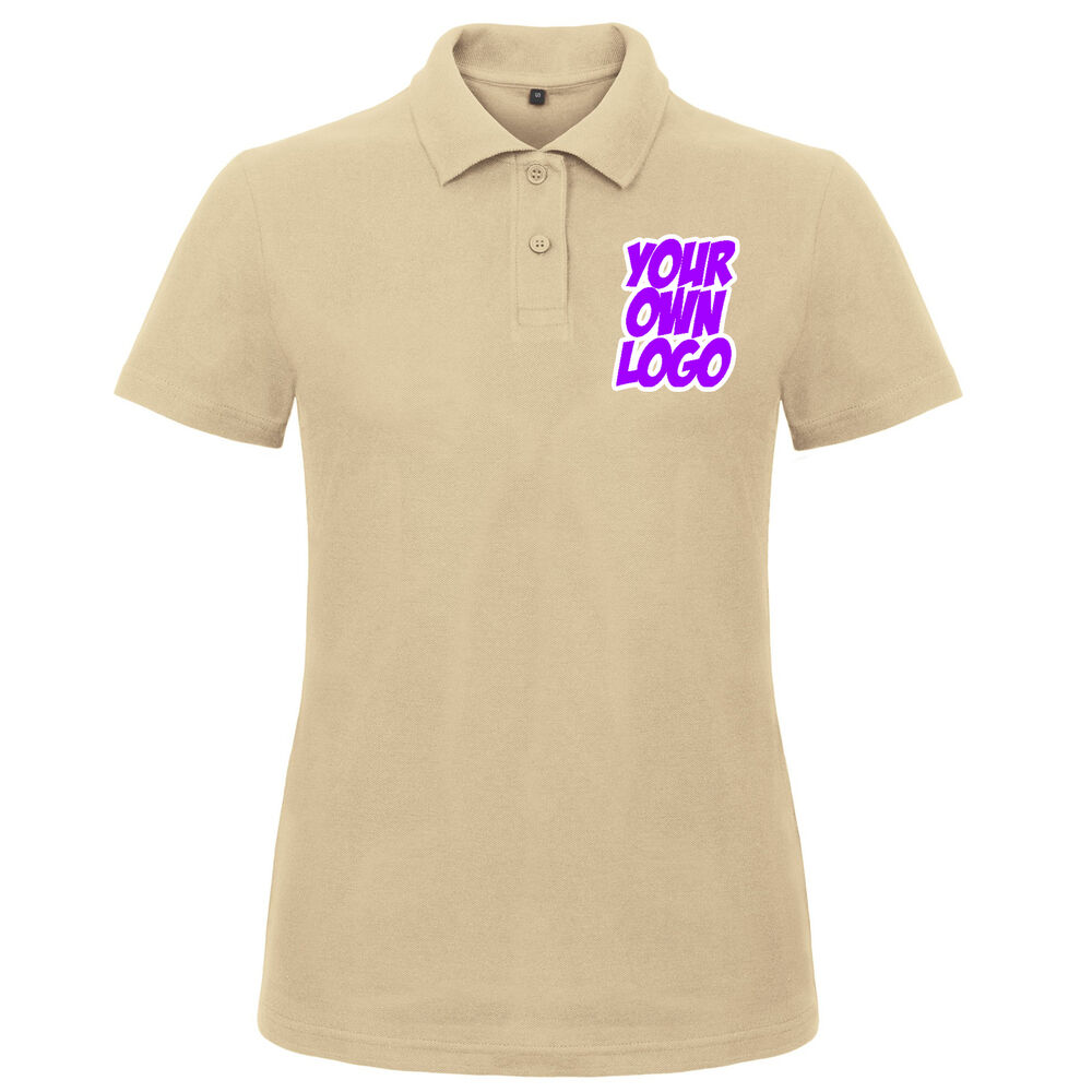 7c375ad7 Details about Ladies Womens Sand Polo T Shirt Bulk Buy x3 Personalised  Design Text Logo