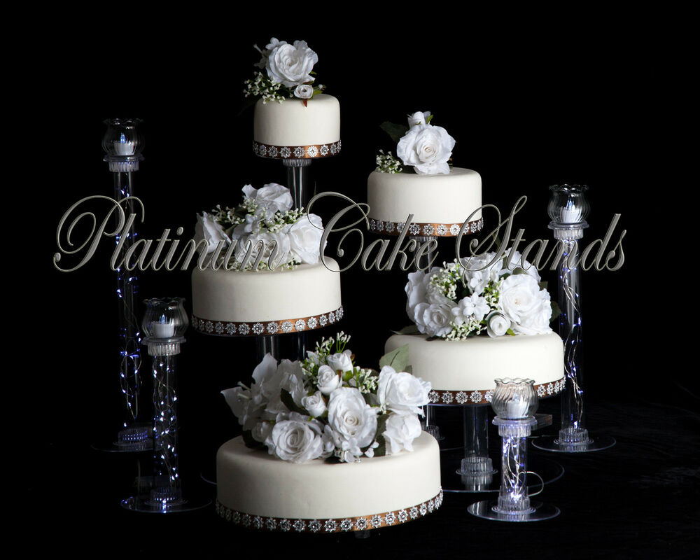 5 TIER CASCADE WEDDING CAKE STAND W 4 VOTIVE SET STYLE R501