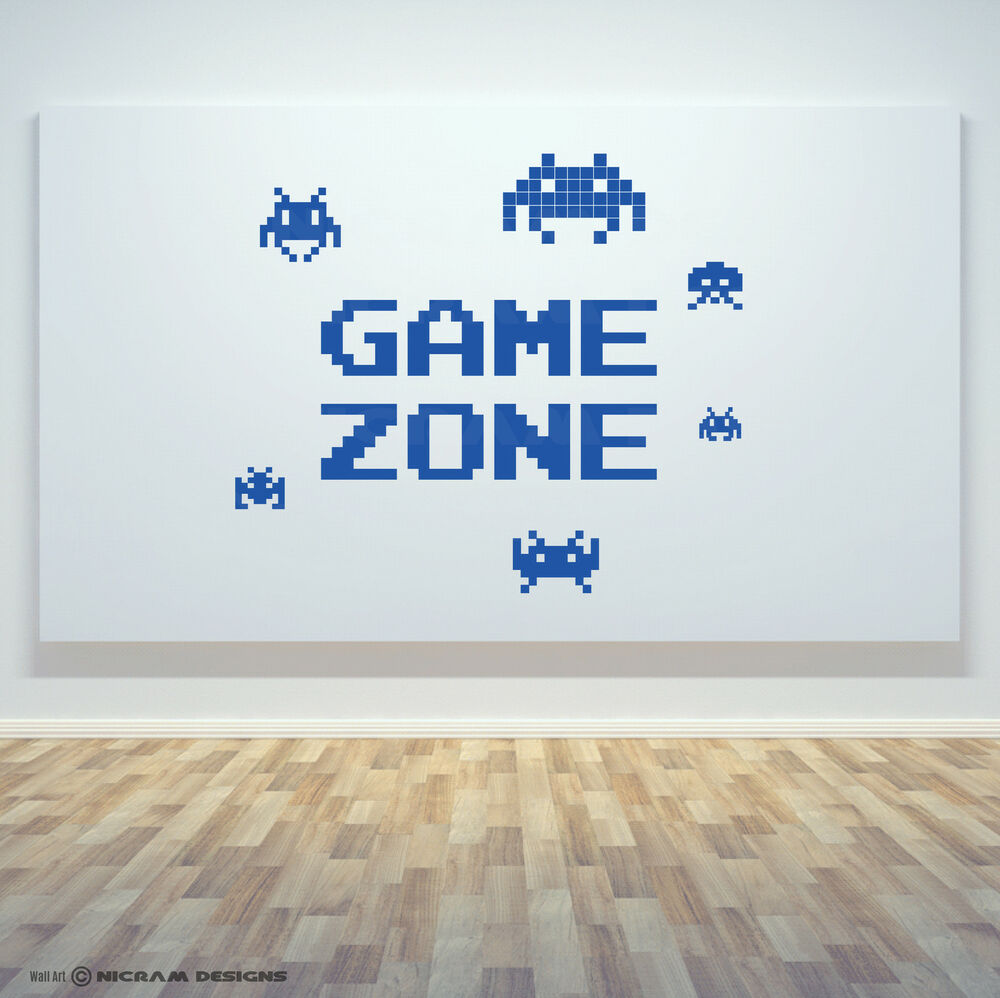 Game zone retro gamer room wall art vinyl invaders decal for Retro wall art