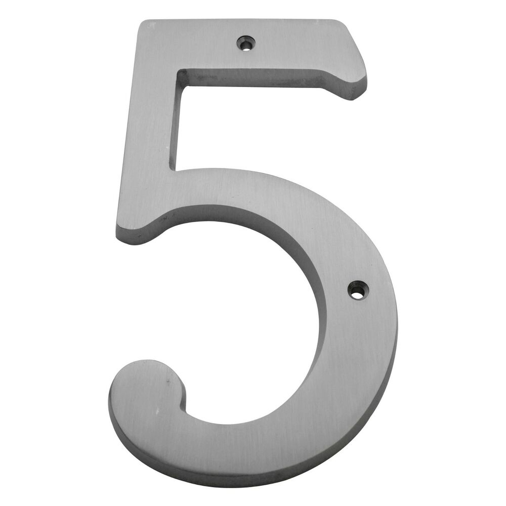 6 inch satin nickel 5 house numbers home address plaque for House numbers