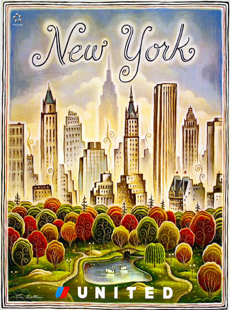 new york central park united states vintage travel advertisement art poster ebay. Black Bedroom Furniture Sets. Home Design Ideas