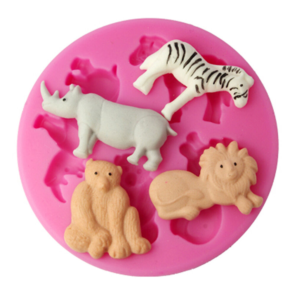 Cake Decorating Animal Molds : FOUR-C 3D Silicone Animals Molds Cake Design Moulds ...