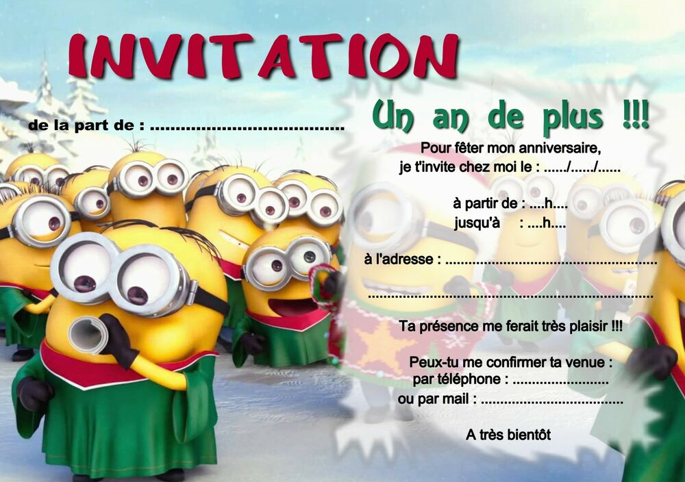 5 ou 12 cartes invitation anniversaire les minions r f 254 ebay. Black Bedroom Furniture Sets. Home Design Ideas