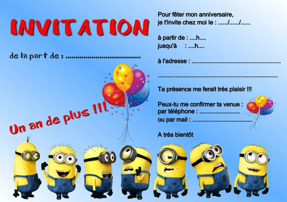 5 ou 12 cartes invitation anniversaire les minions r f 260 ebay. Black Bedroom Furniture Sets. Home Design Ideas