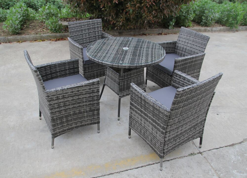 Bistro Garden Rattan Wicker Outdoor Dining Furniture Set