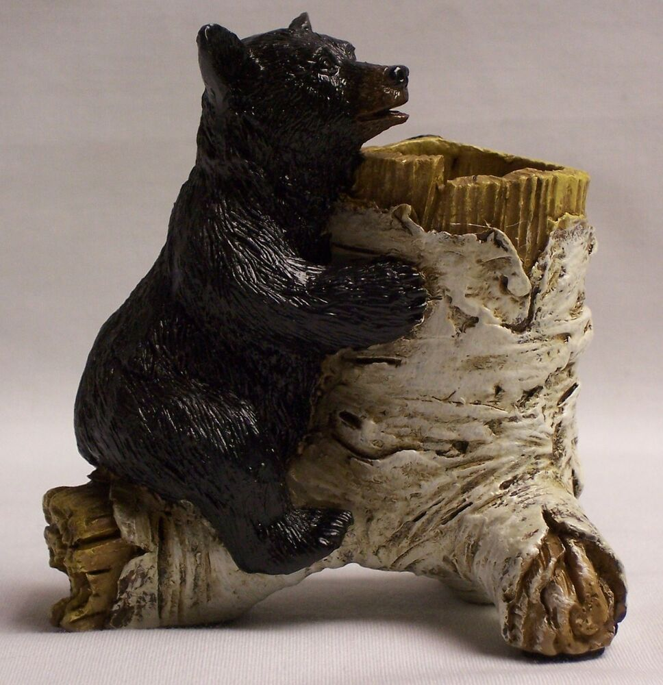 Bear toothpick holder home cabin lodge decor for Bear home decorations