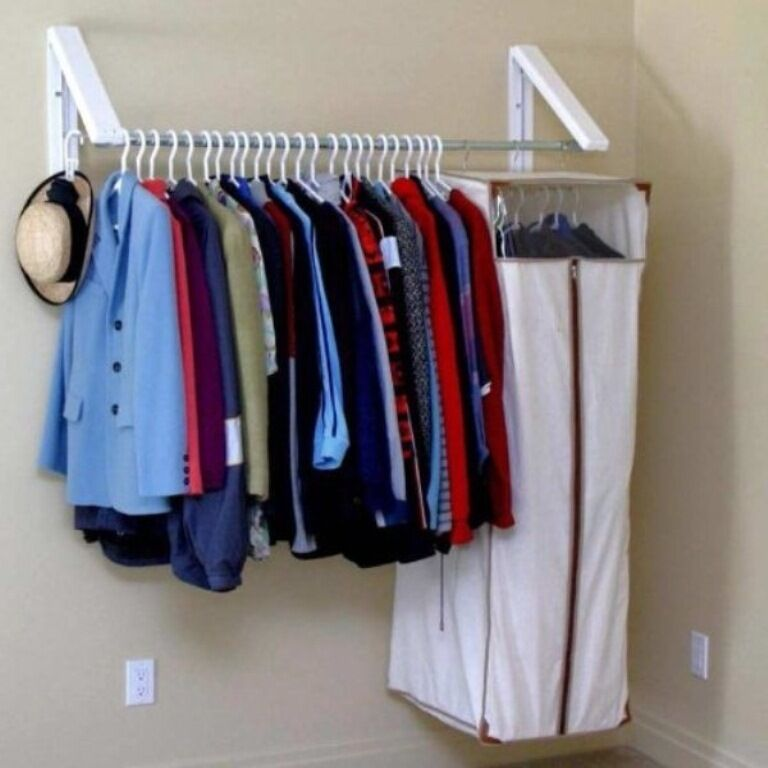 hanger closet clothes storage shelf holder rack shelves hanging portable garment ebay. Black Bedroom Furniture Sets. Home Design Ideas