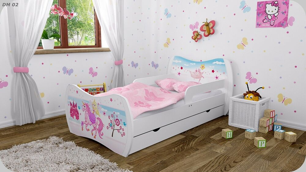 dm kinderbett weiss mit matratze bettkasten und lattenrost. Black Bedroom Furniture Sets. Home Design Ideas