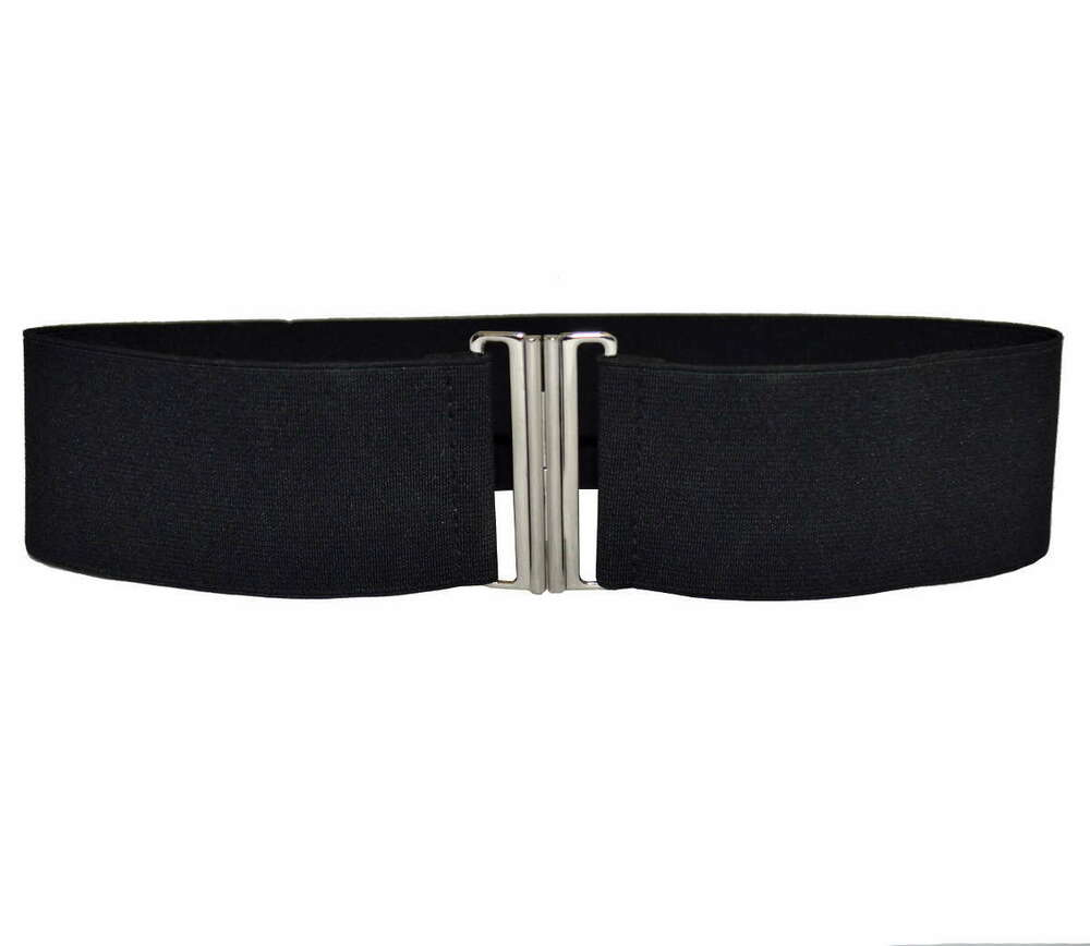black elastic stretch chrome cinch buckle belt 6cm
