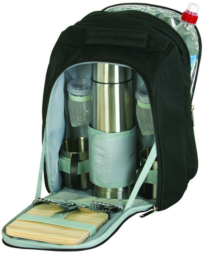 Picnic Coffee Travel Backpack Bag Set For Two 2 Stainless
