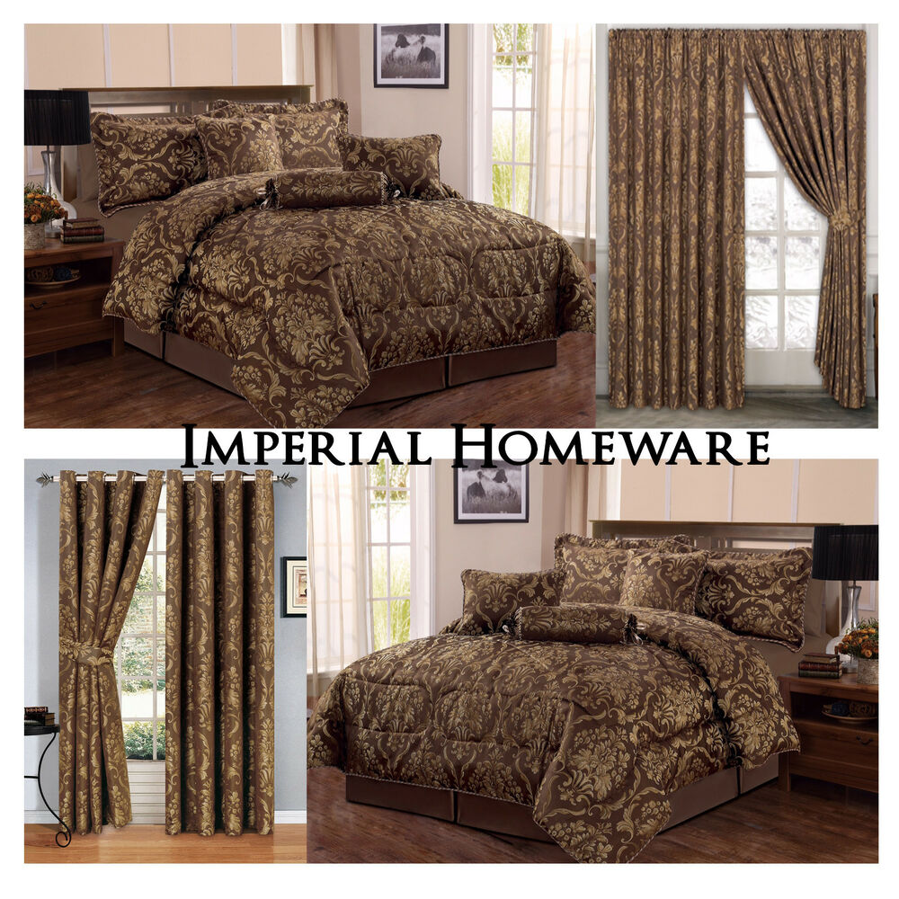 Jacquard Luxury 7 Piece Coffee Bedspread Comforter Set With Matching Curtains Ebay