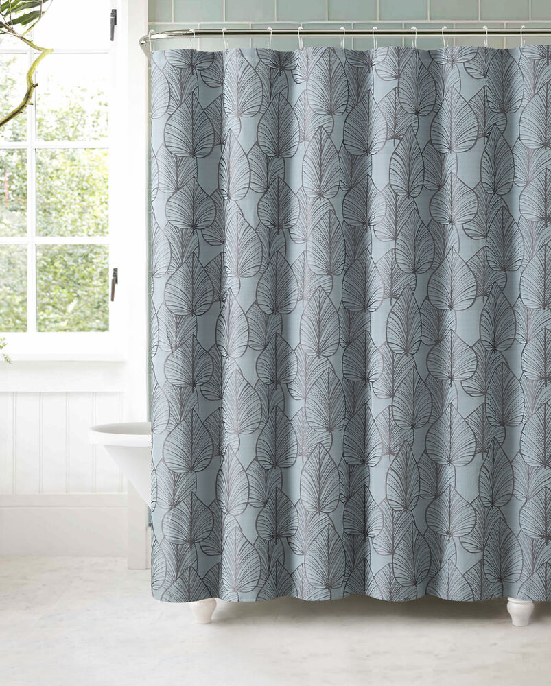 blue gray brown autumn leaves jacquard geometric fabric bathroom shower curtain ebay. Black Bedroom Furniture Sets. Home Design Ideas