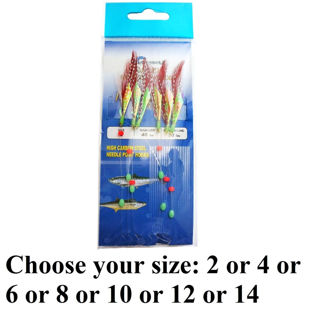 Terminal tackle sabiki bait rigs feather 6 hook saltwater for Sabiki rig fishing