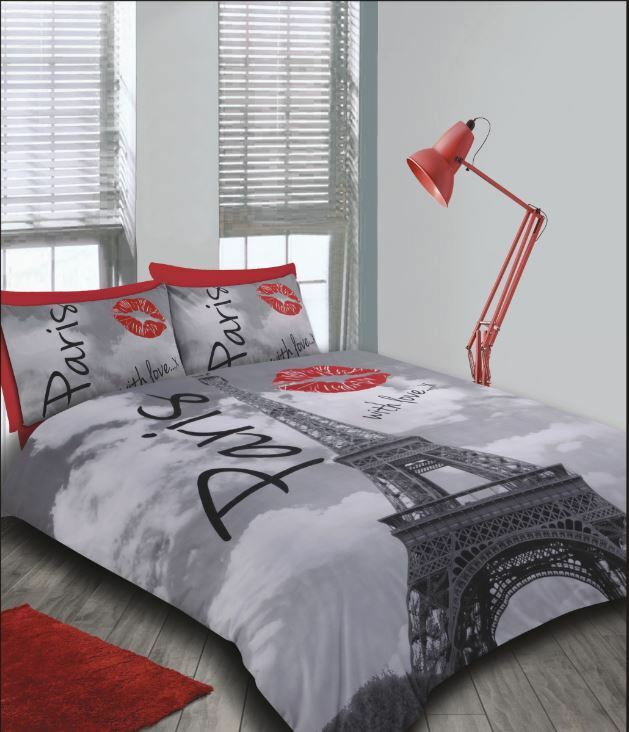 France eiffel tower paris with love red lips funky new - Housse de couette tour eiffel 140x200 ...