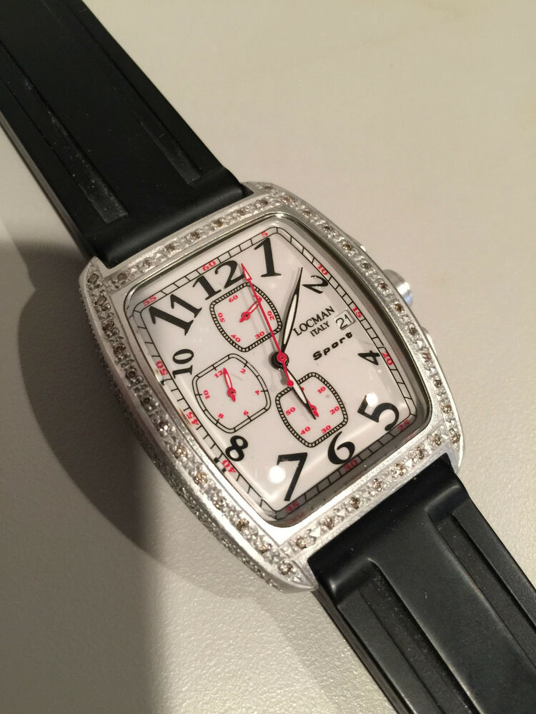 Locman sport 487 chronograph watch italy white dial with diamond bezel very rare ebay for Diamond dial watch