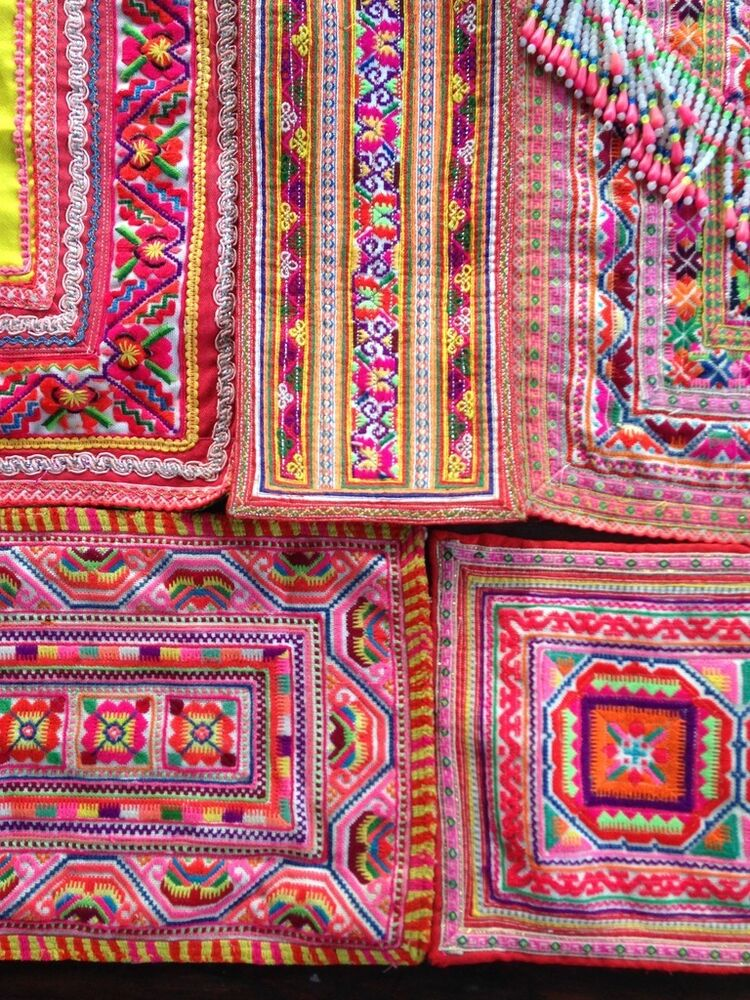 Vintage hmong embroidered cotton textile apron fabric for Fabric supply