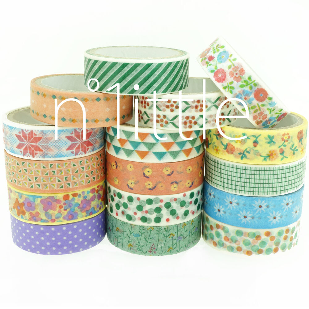 16 patterns paper washi tape masking adhesive roll for Decorative paper rolls