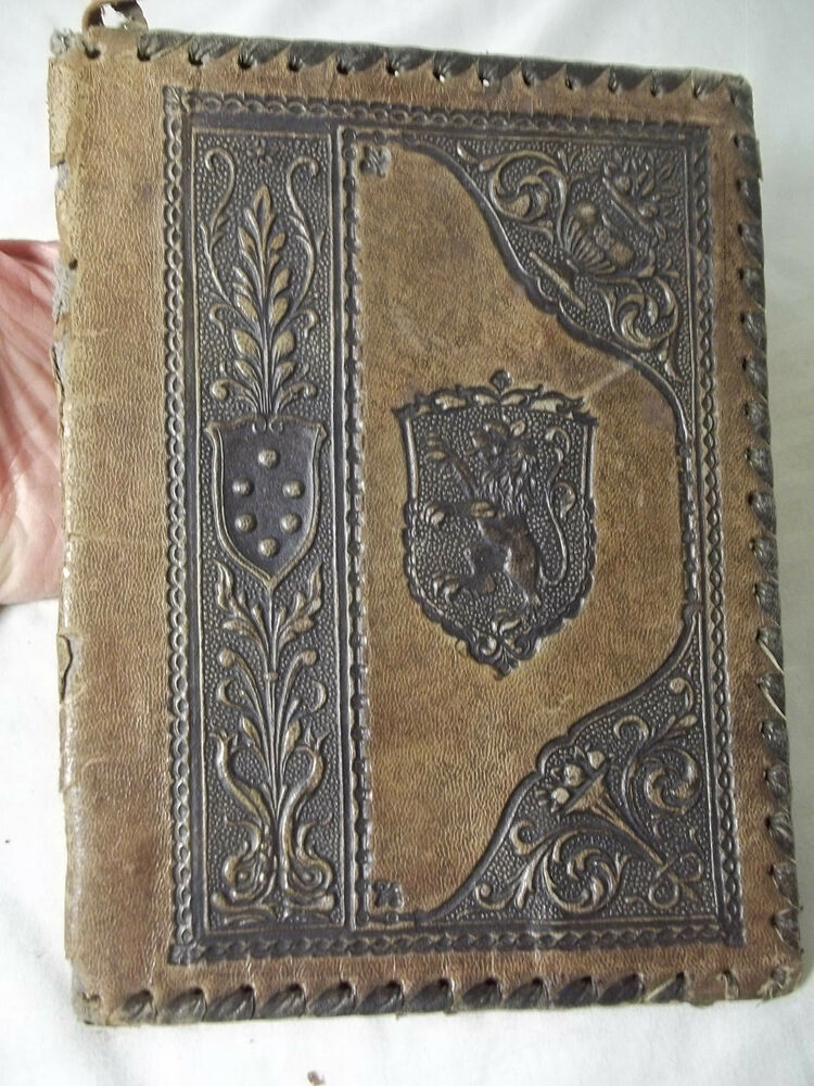 Vintage Leather Book Cover : Early vintage s leather book cover tooled medieval