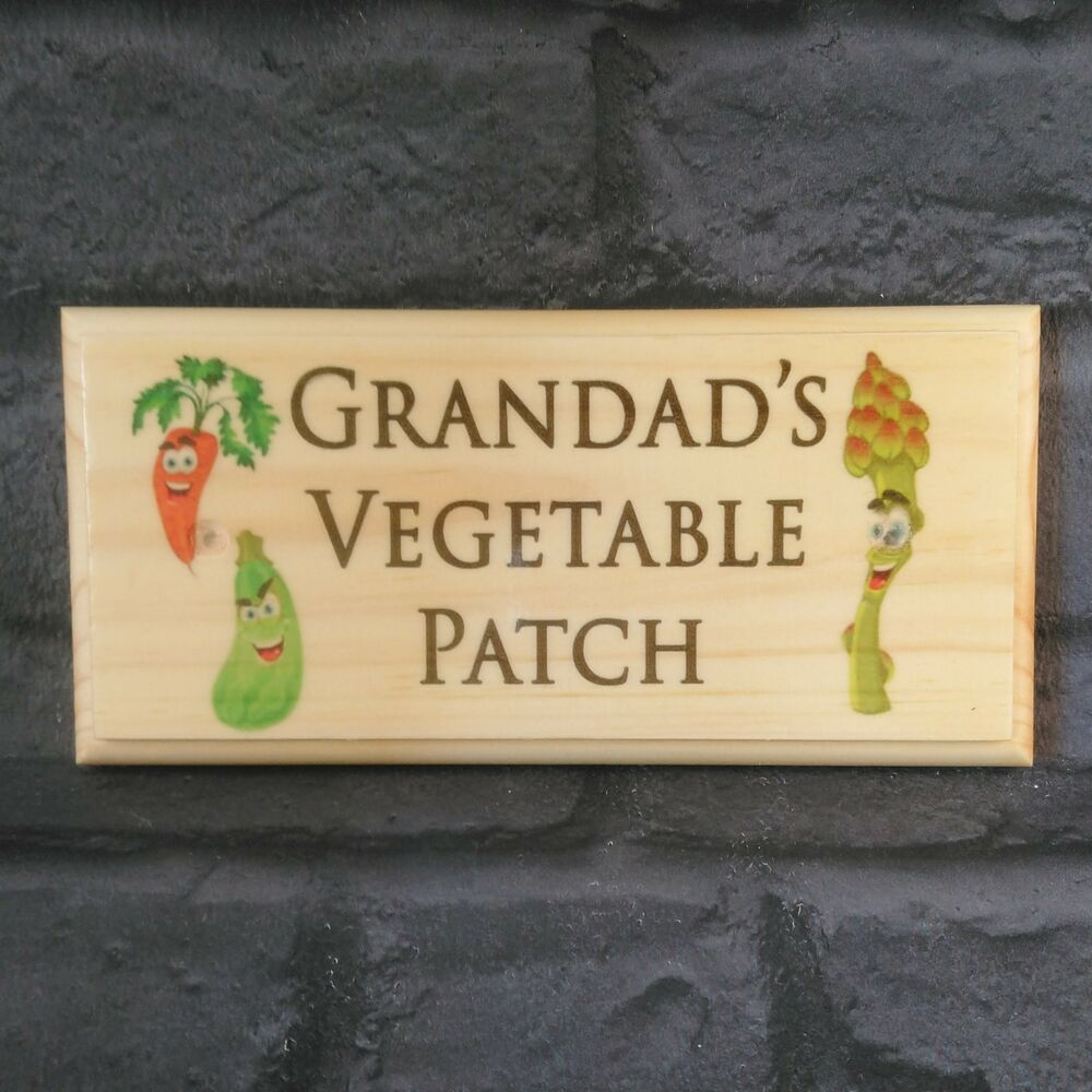Grandads Vegetable Patch Plaque Sign Craft Gift