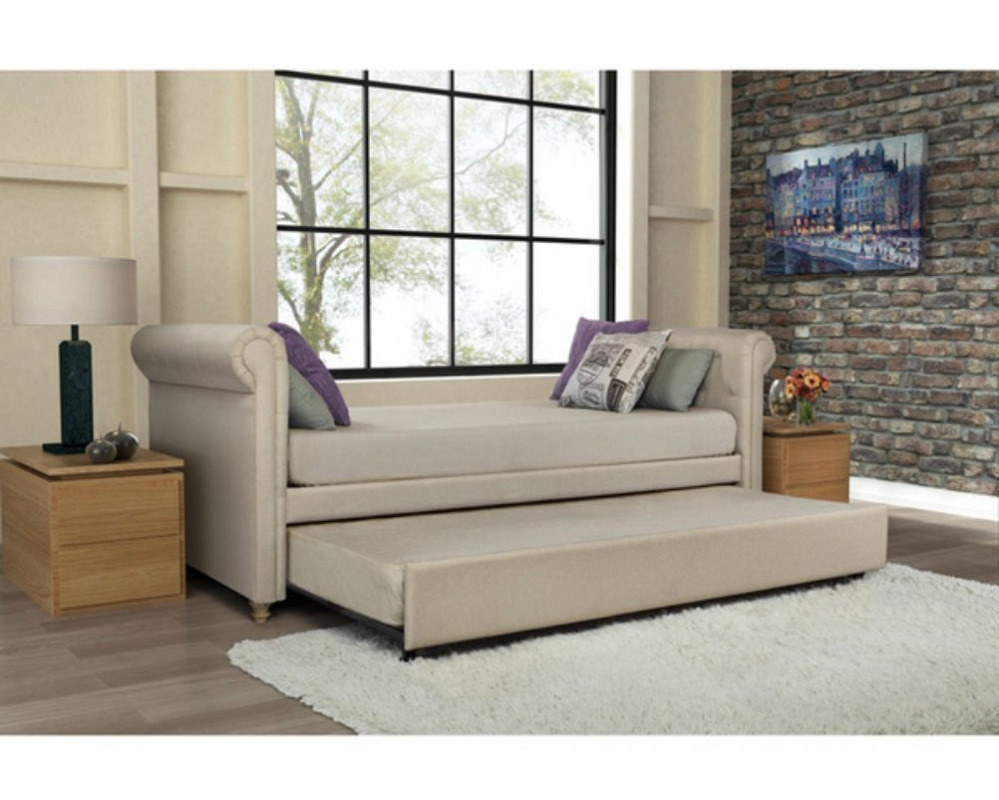 Day Bed Leatherette Upholstered Sofa Couch Daybed W Twin Trundle Guest Room Tan Ebay