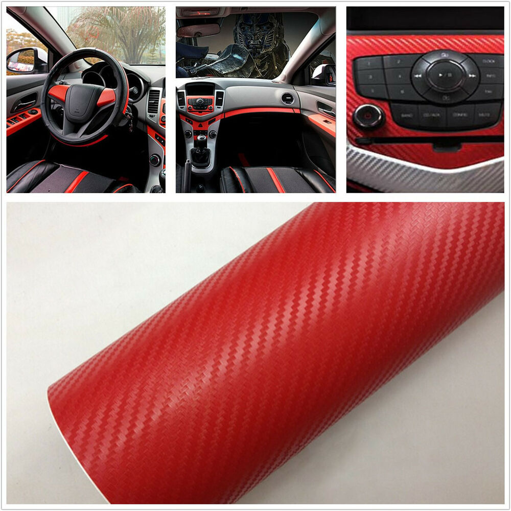 red 3d carbon fiber auto interior decoration vinyl film sticker wrap bubble free ebay. Black Bedroom Furniture Sets. Home Design Ideas