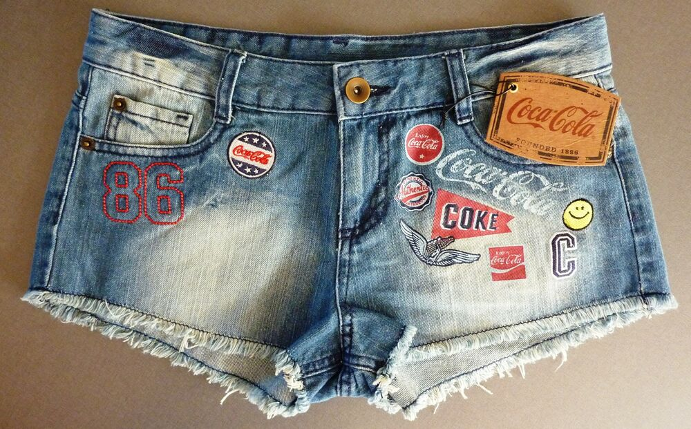 neu coca cola damen jeans shorts hot pants 36 uk8 coke denim sommer hose primark ebay. Black Bedroom Furniture Sets. Home Design Ideas