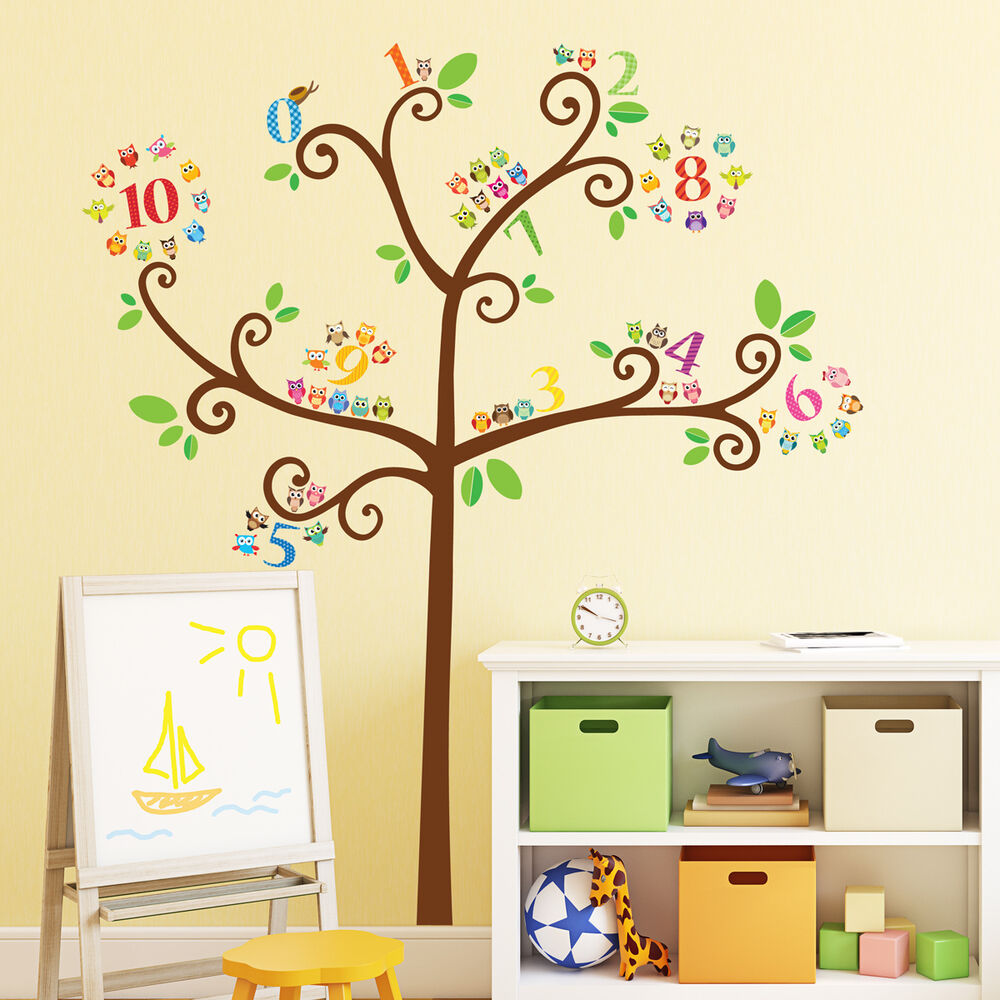 Decowall Owls Number Tree Wall Stickers Nursery Tattoos Children Bedroom 1503b Ebay