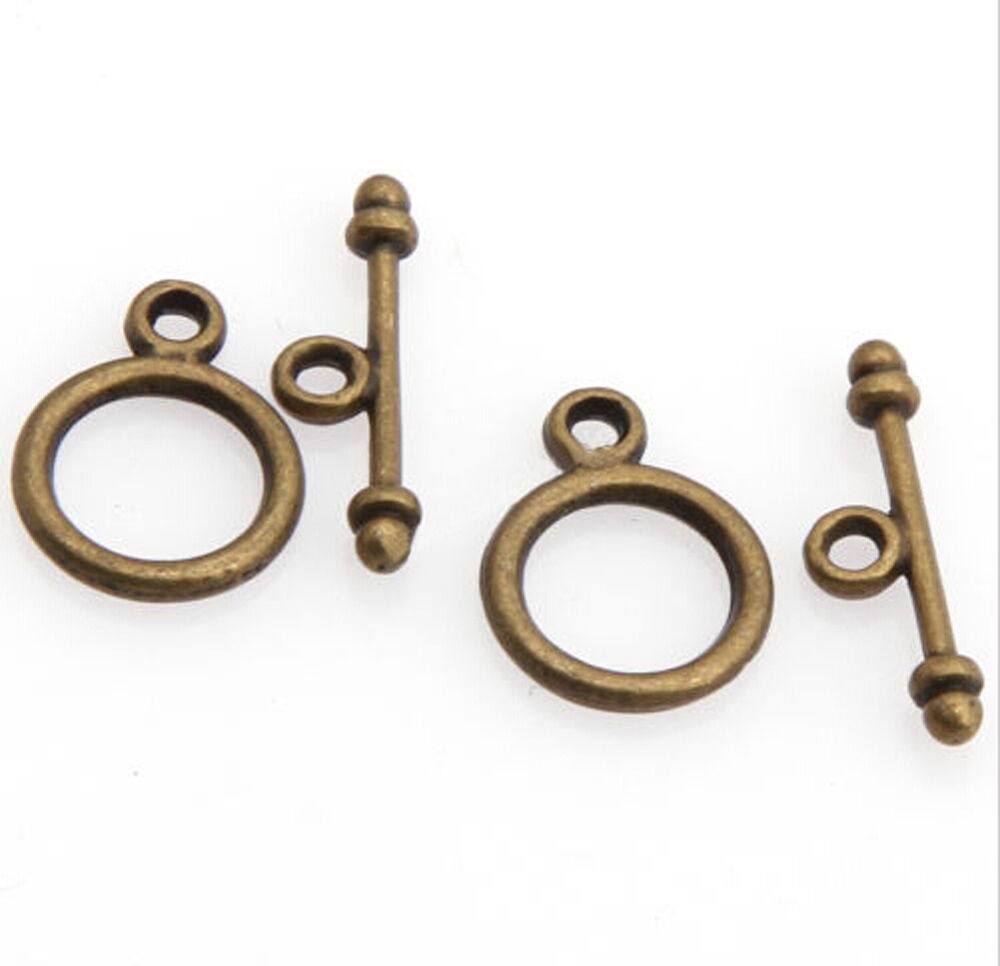 30 sets tibetan silver round toggle clasp jewelry making for Earring supplies for jewelry making