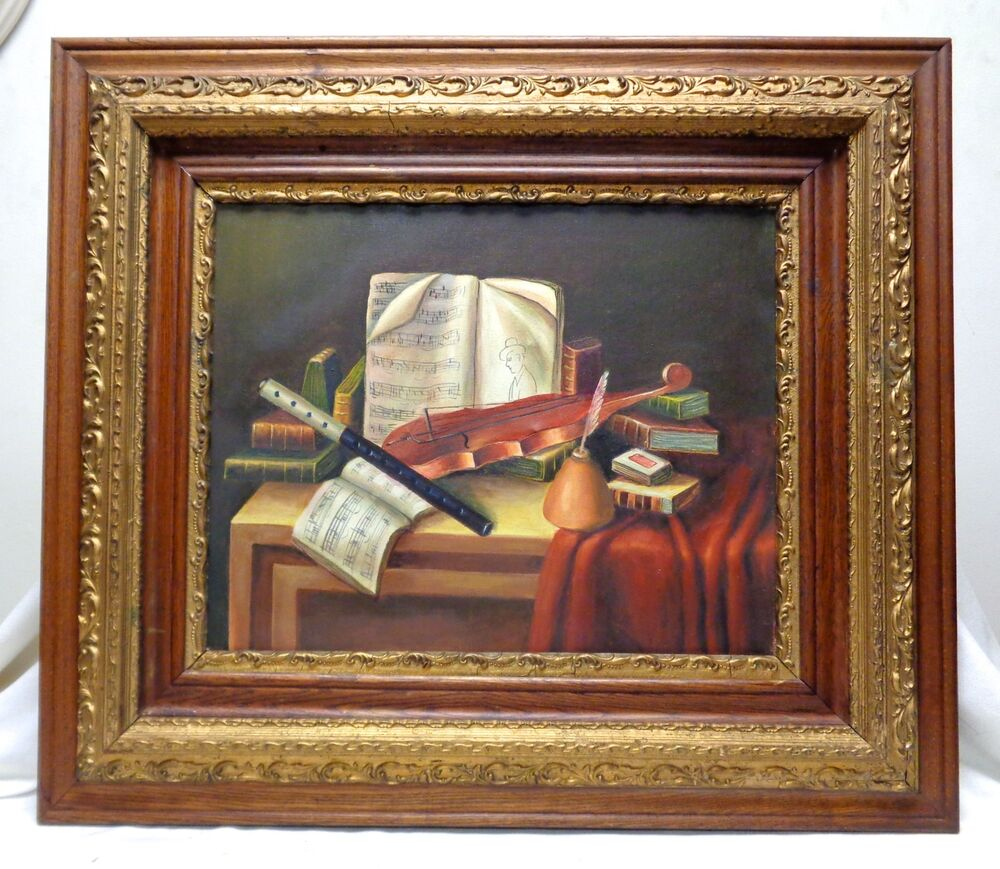 canvas oil painting music instruments books w antique decorative frame 28x32 ebay. Black Bedroom Furniture Sets. Home Design Ideas
