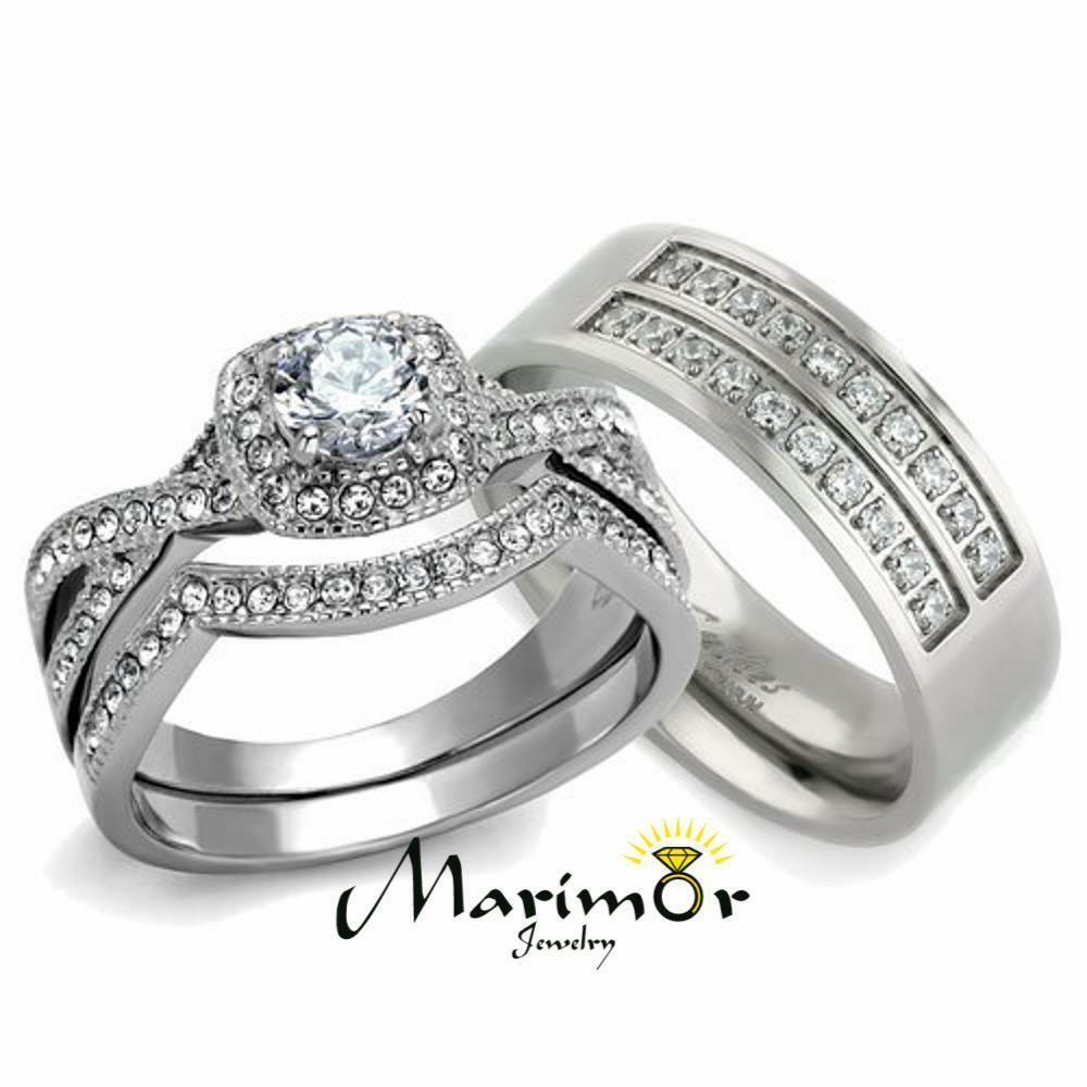 silver wedding rings for her his amp 3pc silver stainless steel amp titanium wedding 7463