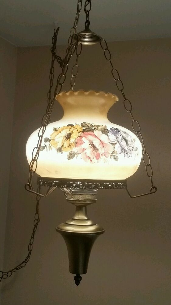 VTG Hanging Parlor Lamp Shade Chandelier Hand Painted ...