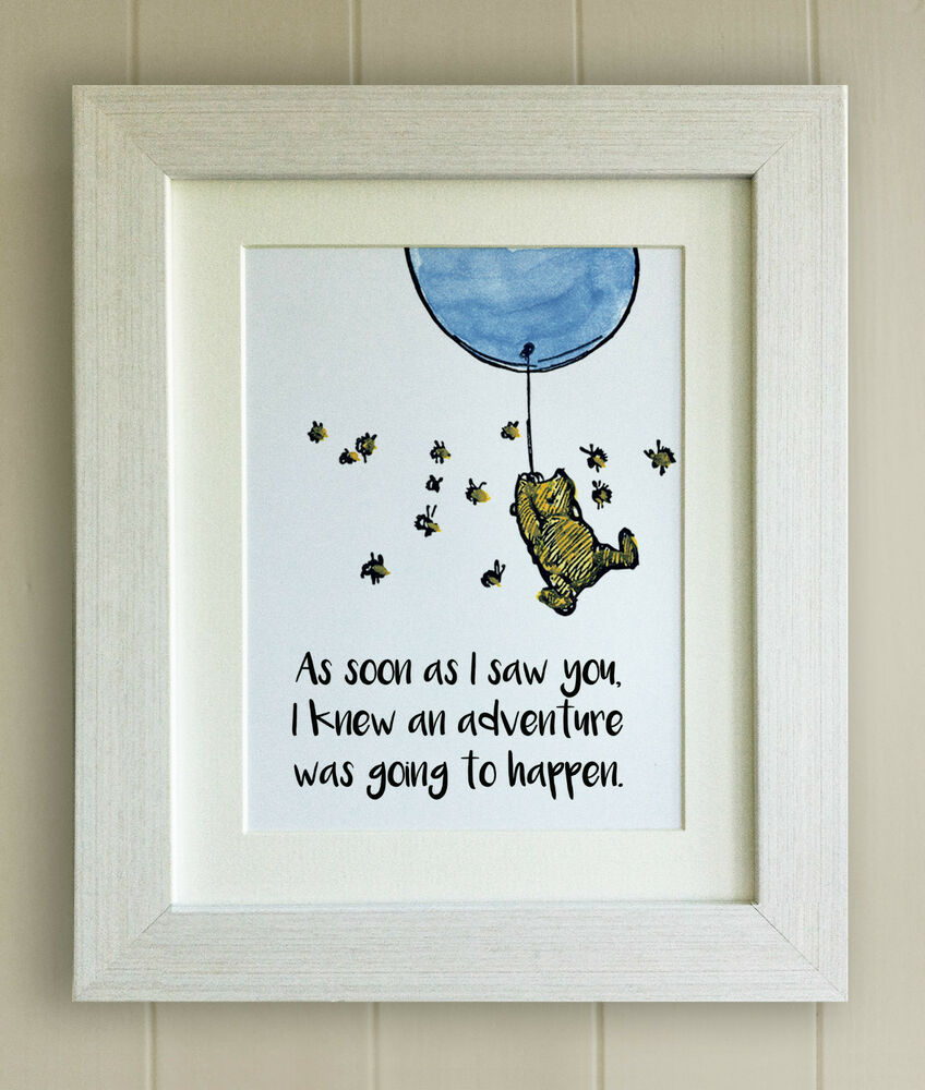 winnie the pooh framed quote print  new baby  birth  nursery picture gift  bear
