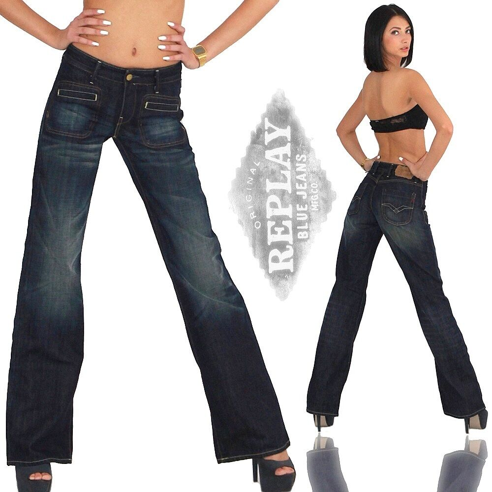 replay damen jeans hose bootcut schlag schlaghose baggy hustle 528 ebay. Black Bedroom Furniture Sets. Home Design Ideas