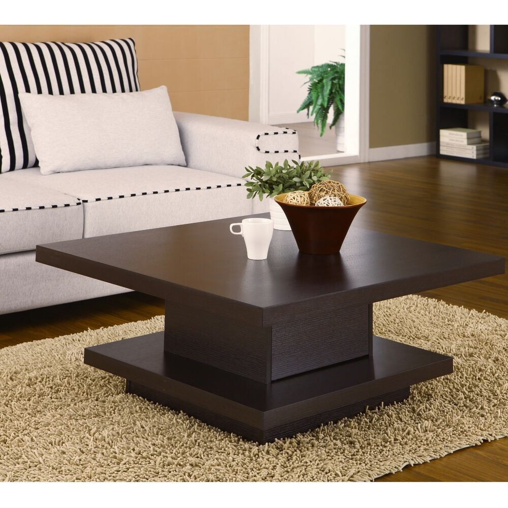 Square cocktail table coffee center storage living room modern furniture wood ebay for Contemporary tables for living room
