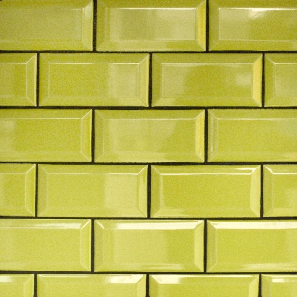 Black Gloss Kitchen Wall Tiles: LIME GREEN GLOSS METRO VICTORIAN BEVELLED BRICK KITCHEN