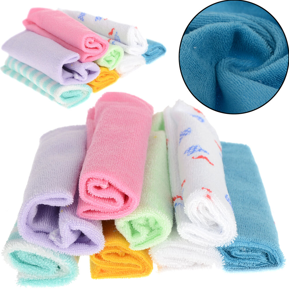 8Pcs Baby Infant Newborn Soft Bath Towel Washcloth Bathing ...