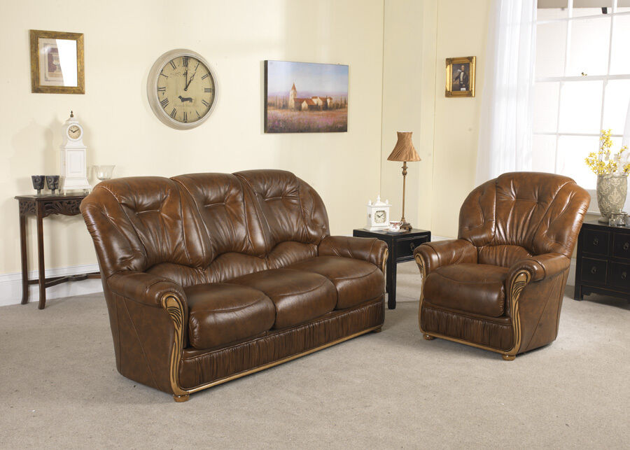 Brown High Grade Italian Leather 3 Seater 2 Armchairs