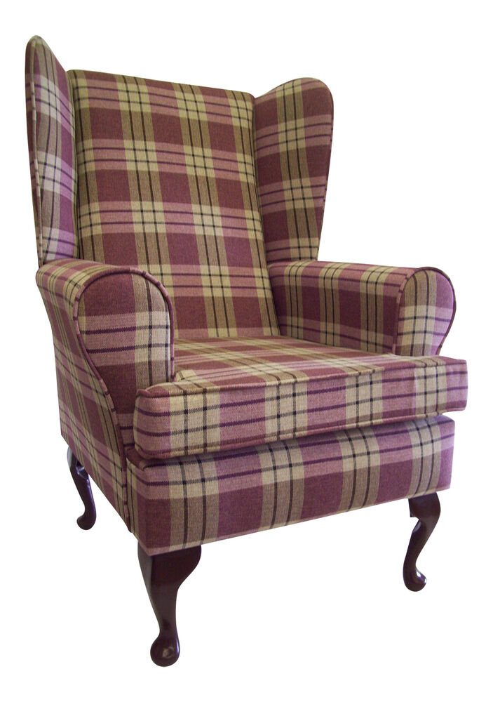 Wing Back Queen Anne Chair Heather Kintyre Tartan Fabric