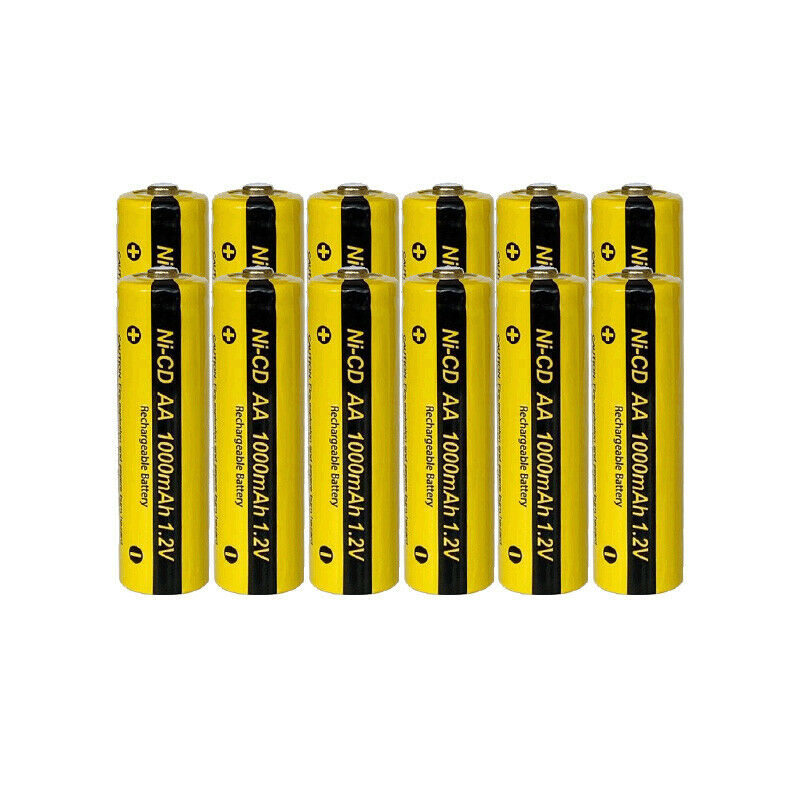 12 Aa Rechargeable Batteries Nicd 1000mah 1 2v Solar