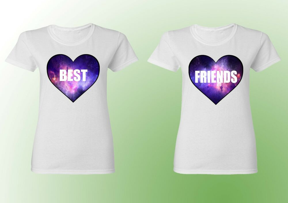 Couple T Shirt Best Friends Bff Shirts White Color Galaxy