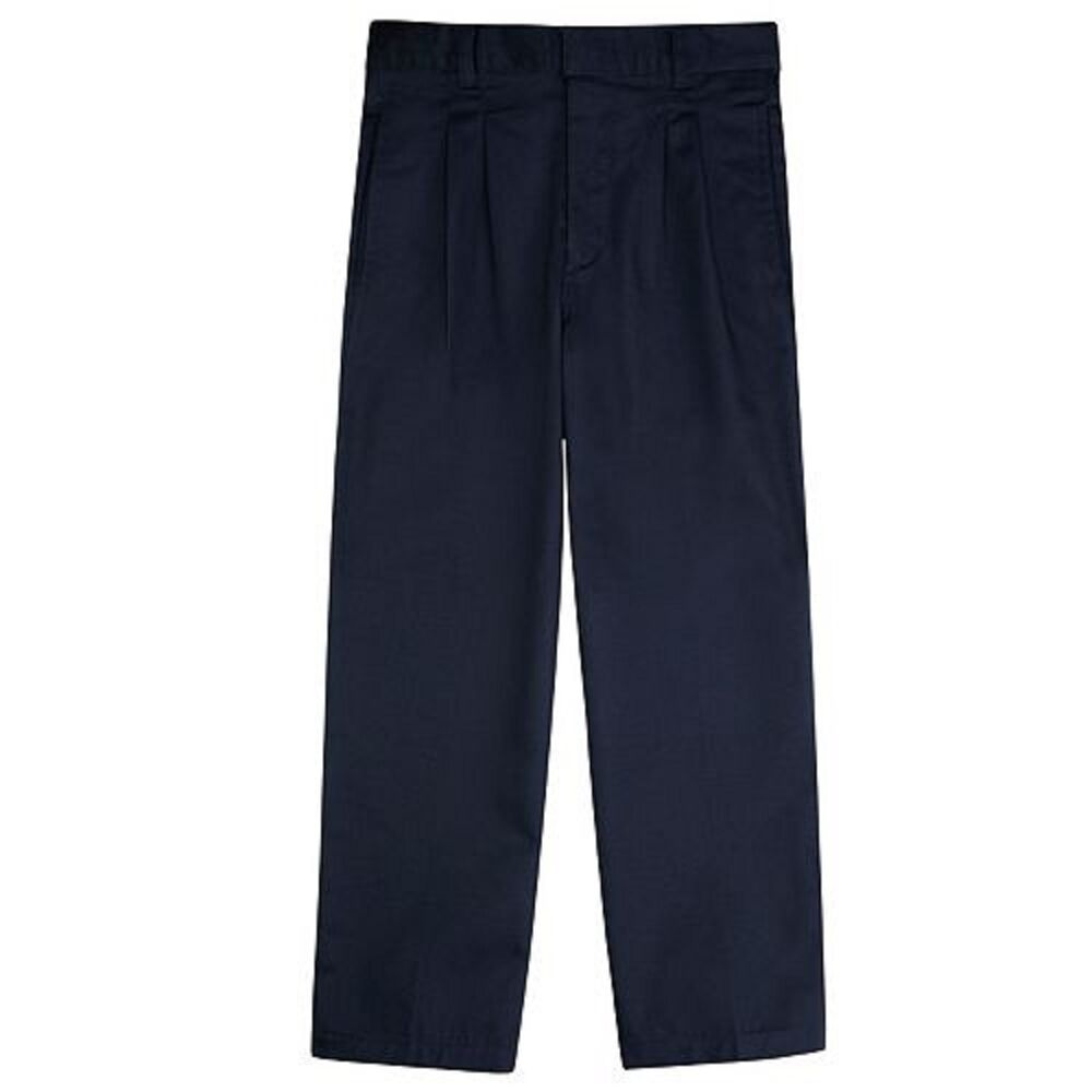 mens pants pant navy blue uniform chino 40 x 30 42 un 44 x 34 pleated flat new ebay. Black Bedroom Furniture Sets. Home Design Ideas